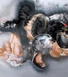 Abstract Acrylic Art Painting title 'Black And Beige Abstarct' by artist Deepak Guddadakeri