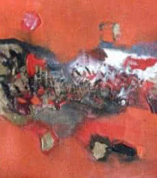 Abstract Acrylic Art Painting title 'Red Abstract' by artist Deepak Guddadakeri