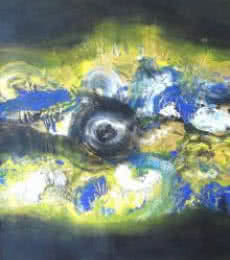 Abstract Acrylic Art Painting title 'The Yellow Eye' by artist Deepak Guddadakeri