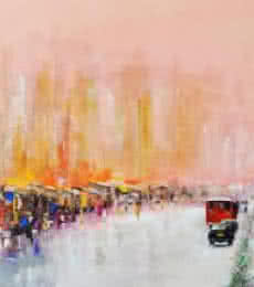 Cityscape Acrylic Art Painting title 'Mind The Gap' by artist Tejinder Ladi Singh