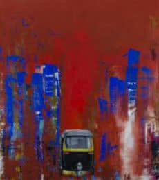 Cityscape Acrylic Art Painting title 'This Is I' by artist Tejinder Ladi Singh