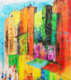 Abstract Oil-pastel Art Painting title Urban Jungle 5 by artist Tejinder Ladi Singh
