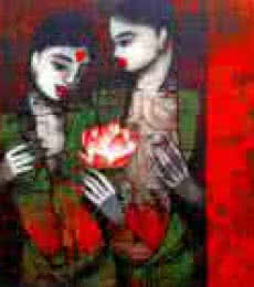 Figurative Acrylic Art Painting title 'Girl With Flower' by artist Mukesh Salvi