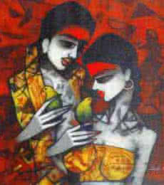 Love Birds | Painting by artist Mukesh Salvi | acrylic | Canvas