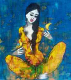 Love With Birds | Painting by artist Mukesh Salvi | acrylic | Canvas