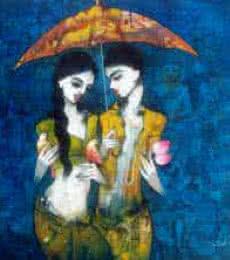 Under the Umbrella | Painting by artist Mukesh Salvi | acrylic | Canvas