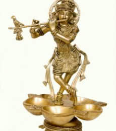 Krishna Lamp | Craft by artist Brass Art | Brass