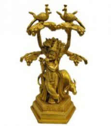 Brass Art | Brass Krishna With Cow Craft Craft by artist Brass Art | Indian Handicraft | ArtZolo.com