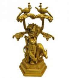 Brass Krishna With Cow   Craft by artist Brass Art   Brass