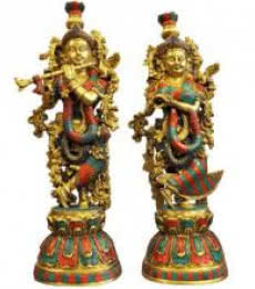 Brass Art | Brass Radha Krishna Statue With Colored Craft Craft by artist Brass Art | Indian Handicraft | ArtZolo.com