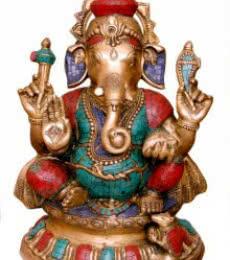 Brass with Stone Ganesha | Craft by artist Brass Art | Brass