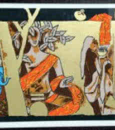Figurative Serigraphs Art Painting title Theorama Series VI by artist M F husain