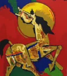 Animals Serigraphs Art Painting title 'Horse' by artist M F husain