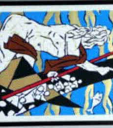 Figurative Serigraphs Art Painting title 'Theorama Series X' by artist M F husain