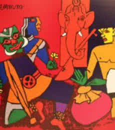 M F husain Paintings | Serigraphs Painting - Kathak Dance (Kerala Series) by artist M F husain | ArtZolo.com