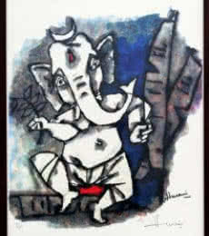 M F husain | Other Painting title Dancing Ganesha(Ashtavinayak Series) on serigraph | Artist M F husain Gallery | ArtZolo.com