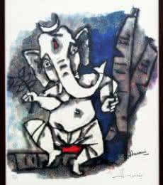Dancing Ganesha(Ashtavinayak Series) | Painting by artist M F husain | other | serigraph