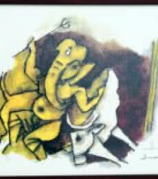 Ganesha With Cow (Ashtavinayak Series) | Painting by artist M F husain | other | serigraph