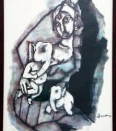 Parvati and Ganesha(Ashtavinayak Series)   Painting by artist M F husain   other   serigraph