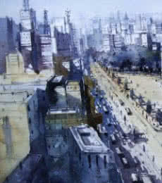 Cityscape Watercolor Art Painting title 'New Edit' by artist Nirupam Konwar