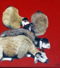 Lazing Sheep | Painting by artist RAOSAHEB GURAV | oil | Canvas
