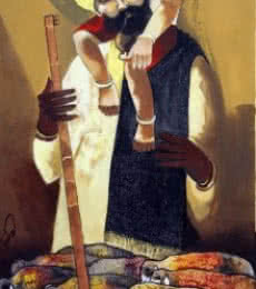 Figurative Oil Art Painting title Father Shepherd by artist RAOSAHEB GURAV