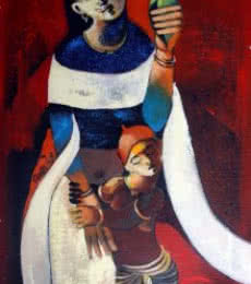 Motherly Love | Painting by artist RAOSAHEB GURAV | acrylic | Canvas
