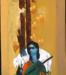 Lady Shepherd | Painting by artist RAOSAHEB GURAV | acrylic | Canvas