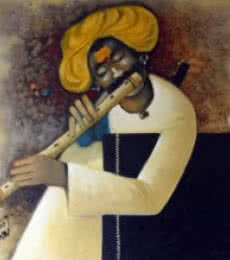 Flute II | Painting by artist RAOSAHEB GURAV | oil | Canvas