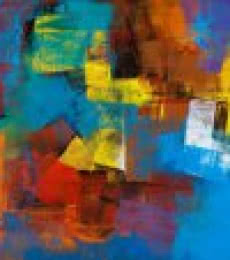 Abstract Acrylic Art Painting title 'Blue Horizontal Abstract' by artist Siddhesh Rane
