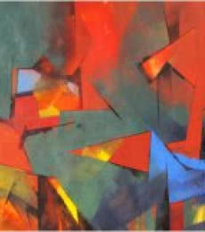 Abstract Acrylic Art Painting title Illusion by artist Siddhesh Rane