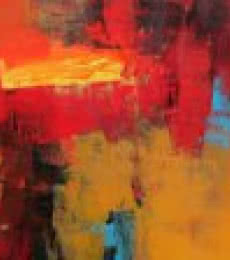 Siddhesh Rane | Acrylic Painting title Red Horizontal Abstract on Canvas | Artist Siddhesh Rane Gallery | ArtZolo.com