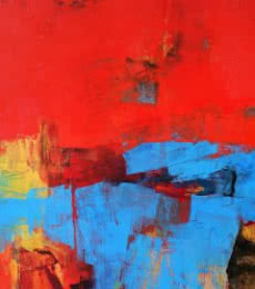 Abstract Acrylic Art Painting title 'Red Vertical Abstract I' by artist Siddhesh Rane