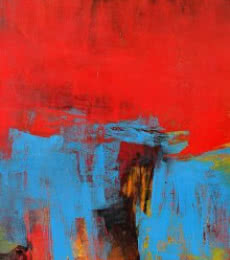 Abstract Acrylic Art Painting title 'Red Vertical Abstract II' by artist Siddhesh Rane