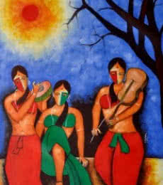 Figurative Oil Art Painting title 'musician ' by artist Chetan Katigar