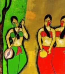 Figurative Mixed-media Art Painting title 'Three Friends' by artist Chetan Katigar
