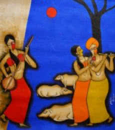 Absorbed | Painting by artist Chetan Katigar | mixed-media | Canvas