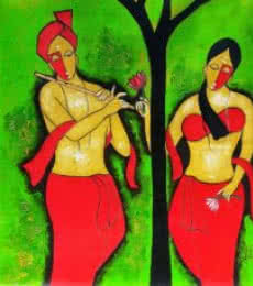 Chetan Katigar | Mixed-media Painting title Couple 6 on Canvas | Artist Chetan Katigar Gallery | ArtZolo.com