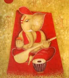 Religious Oil Art Painting title 'Ganesha 1' by artist Chetan Katigar
