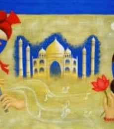 Abstract Oil Art Painting title 'Love' by artist Chetan Katigar