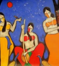 Musical Night. | Painting by artist Chetan Katigar | mixed-media | Canvas