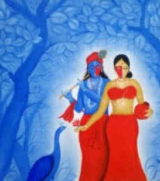 Radha Krishna - | Painting by artist Chetan Katigar | oil | Canvas