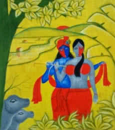 Religious Oil Art Painting title 'Radha Krishna 3' by artist Chetan Katigar