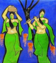 Sakhi | Painting by artist Chetan Katigar | mixed-media | Canvas