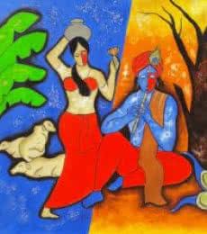 The Krishna 3 | Painting by artist Chetan Katigar | mixed-media | Canvas