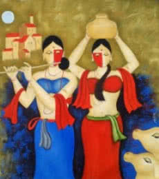 Religious Oil Art Painting title 'The Moon 2' by artist Chetan Katigar