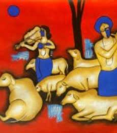 Together   Painting by artist Chetan Katigar   mixed-media   Canvas