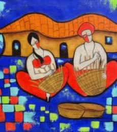 Villager   Painting by artist Chetan Katigar   mixed-media   canvas