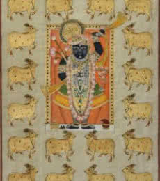 Folk Art Tribal Art Painting title Sreenathji with Cows Pichwai Art by artist Artisan