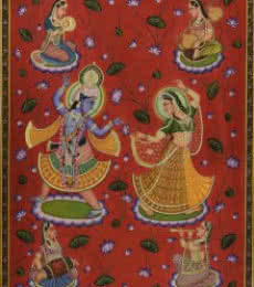 Folk Art Tribal Art Painting title Radhe Krishna Pichwai Art by artist Artisan